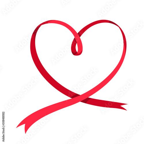 Fototapeta Valentines Day red heart shaped ribbon. obraz