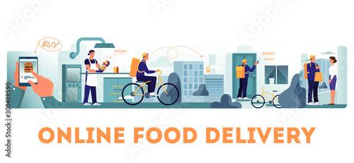 Fototapeta Online food delivery concept set. Food order in the internet. obraz