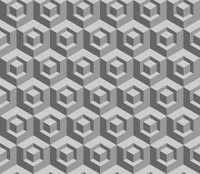 3D Cube Seamless Pattern. Gray...