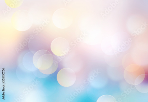 Fototapeta Blue yellow winter spring colorful gradien bokeh glowing background. obraz