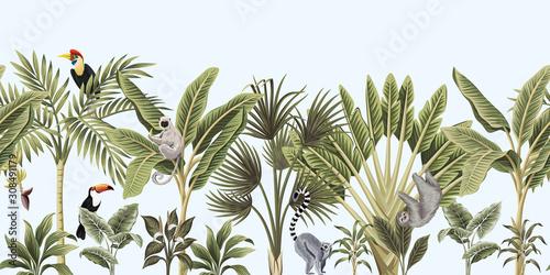 tropikalne-rocznika-dzikie-zwierzeta-ptak-palma-drzewo-bananowe-i-roslin-kwiatowy-bezszwowe-granica-niebieski-tlo-tapeta-egzotycznej-dzungli