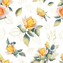 Picturesque Seamless Pattern With Rose Arrangements, Gold Leaves And Rosebuds Hand Drawn In Watercolor Isolated On A White Background. Watercolor Floral Background. Ideal For Wallpaper Or Fabric.