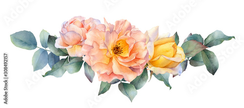 Photo Hand drawn watercolor arrangement with picturesque tea rose flowers, rosebud and leaves isolated on a white background