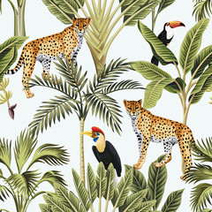 Fototapeta Pantera Tropical vintage banana tree, palm tree, leopard animal, toucan, parrot floral seamless pattern white background. Exotic jungle wallpaper.