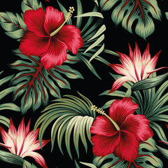 Panel Szklany Egzotyczne Tropical vintage red hibiscus and strelitzia floral green palm leaves seamless pattern black background. Exotic jungle wallpaper.