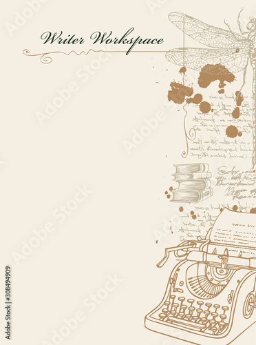 Vector banner on a writers theme with sketches and place for text Canvas Print