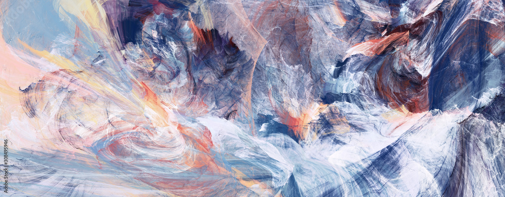 Bright artistic splashes. Abstract painting color texture. Modern futuristic winter pattern. Blue dynamic background. Fractal artwork for creative graphic design.