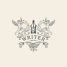 Hand-drawn Vector Logo, Icon, Vignette Or Label For Writer With Nib, Angels And Curlicues