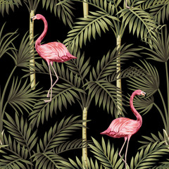 Panel Szklany Podświetlane Natura Tropical vintage pink flamingo and palm trees floral seamless pattern black background. Exotic jungle wallpaper.