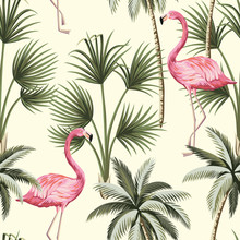 Tropical Vintage Pink Flamingo And Palm Trees Floral Seamless Pattern Yellow Background. Exotic Jungle Wallpaper.