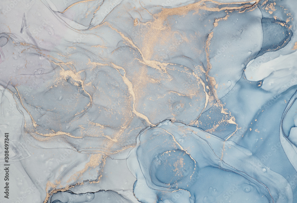 Fototapeta Alcohol ink colors translucent. Abstract multicolored marble texture background. Design wrapping paper, wallpaper. Mixing acrylic paints. Modern fluid art.