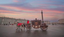 Horse Carriage On The Background Of The Winter Palace