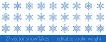 Set Of 27 Blue Snowflake Icon - A Symbol Of Winter Holidays, Xmas And New Year, Cold Weather And Frost - Isolated On White Background. Elegant Vector Design Element With Editable Stroke Weight.