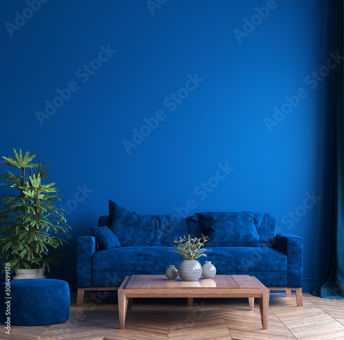 Modern interior of living room, concept of classic blue color of the year 2020 in interior, 3d render