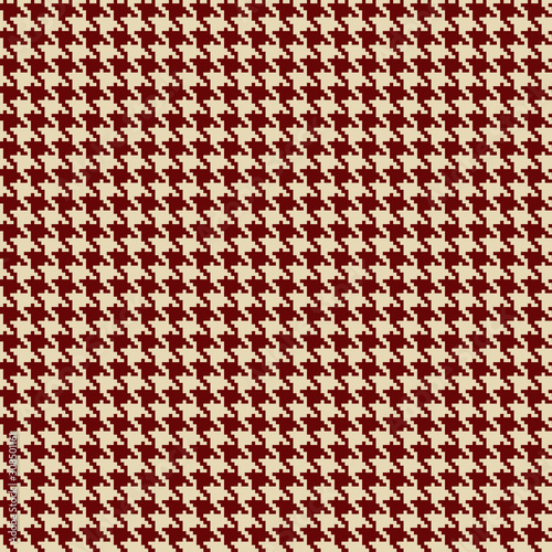 Houndstooth seamless background in beige and dark red colors. Wallpaper Mural