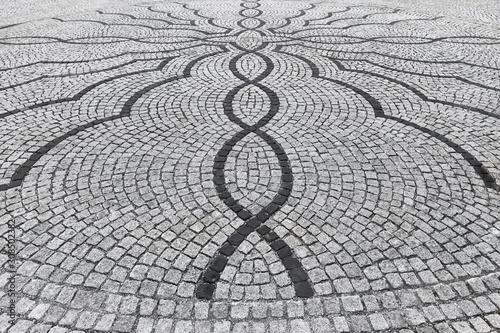 Perfect stone pavement with a beautiful pattern.
