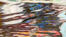Colourful Reflection Of A Houseboat In  Dal Lake,Srinagar,Kashmir,India