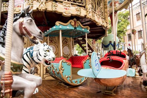 Fényképezés Classic merry-go-round or carousel at the winter fair