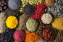 Indian Spices And Herbs As Background For Packing Labels With Food.