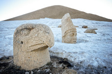 Head Statue Of Eagle In Snow At Western Terrace Ruins Of Nemrut Mountain