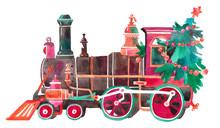 Christmas Train With  Tree, Ba...