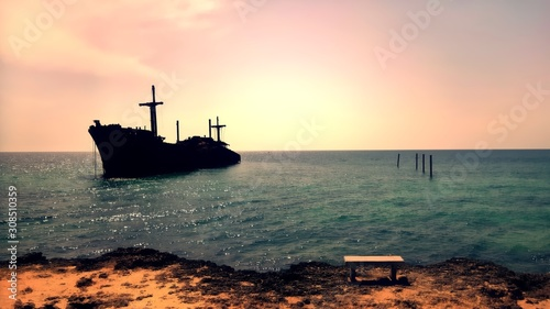 Obraz na plátne Beautiful view of the remaining of the Greek Ship by the beach in Kish Island, P