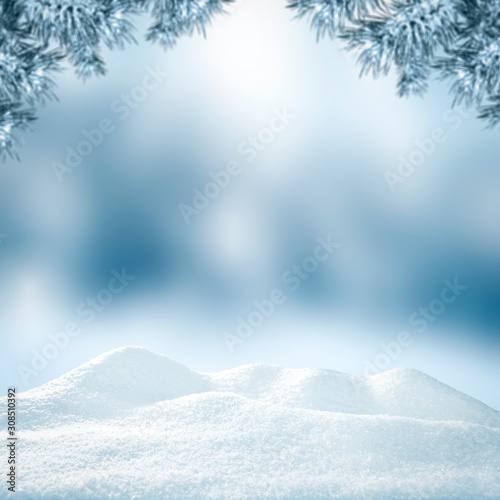 Obraz Winter background of snow and free space for your decoration.  - fototapety do salonu