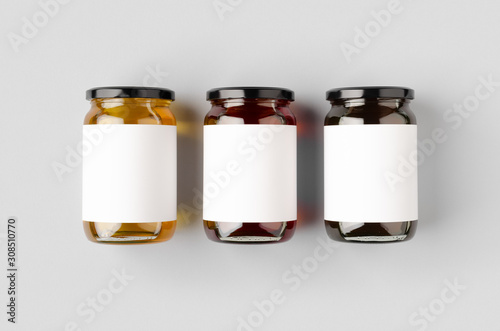 Honey jars mockup with blank label. Three different colors. Poster Mural XXL