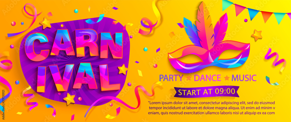 Fototapeta Banner for fun carnival party. Traditional mask with feathers and confetti for carnaval,mardi gras, fesival,masquerade,parade.Template for design invitation,flyer poster,banners. Vector illustration.