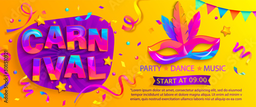 Fototapeta Banner for fun carnival party. Traditional mask with feathers and confetti for carnaval,mardi gras, fesival,masquerade,parade.Template for design invitation,flyer poster,banners. Vector illustration. obraz