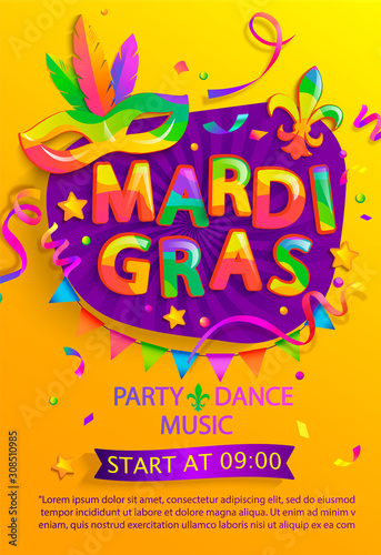 Fototapeta Mardi gras flyer with inviting for carnival party