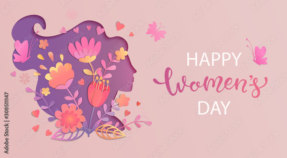 Fototapeta Elegant card for International Women's Day.Banner, flyer for March 8 with papercut woman face silhouette with flowers and wishing happy holiday.Congratulating placard for brochures.Vector illustration