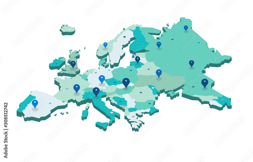 Europe 3d map with gps pins isolated on white background - Vector - obrazy, fototapety, plakaty