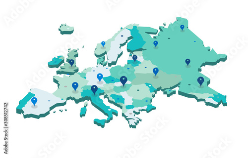 Obraz na plátne Europe 3d map with gps pins isolated on white background - Vector