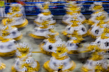 Samba School Parade, Are Seen Walking  Down The Avenue Marques De Sapucai,  During The  Carnival In Rio De Janeiro. Sambodromo.