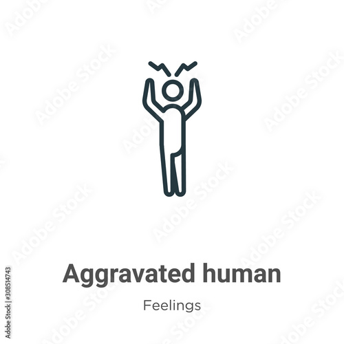 Aggravated human outline vector icon Wallpaper Mural