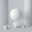 Impossible happen geometric shapes abstract white composition background. Balance. 3d rendering