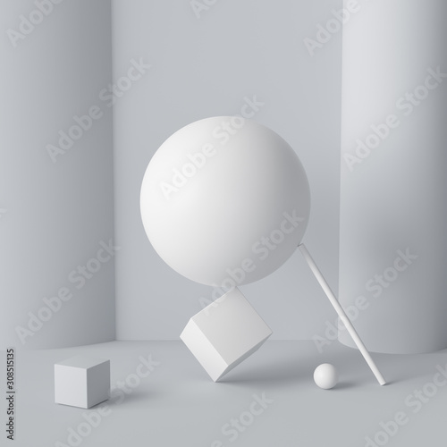 Fotomural Impossible happen geometric shapes abstract white composition background