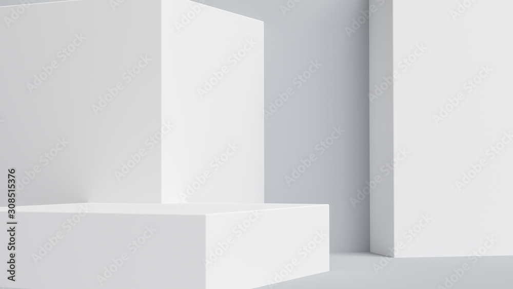 Fototapeta Product setting podium white abstract minimalistic geometry, minimal light interior, object placement, abstract gray background room, 3d rendering,