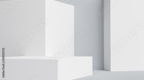 Fototapeta Product setting podium white abstract minimalistic geometry, minimal light interior, object placement, abstract gray background room, 3d rendering, obraz