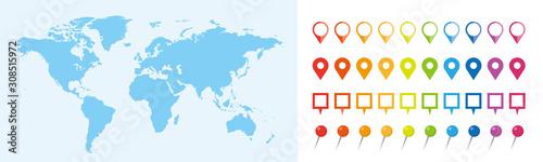 Fototapeta 世界地図 ビジネス マップ ピンとマーカーのセット obraz