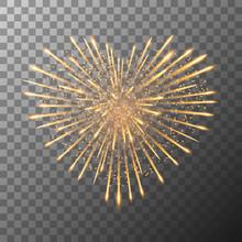 Firework Bursting In Heart Shape. Valentines Day Firework Explosion In Night. Firecracker Rockets Bursting In Big Sparkling Stars