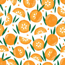 Seamless Pattern With Fruits. Stamp Textured. Great For Fabric, Textile, Wrapping Paper. Vector Illustration