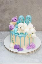 White Cake With Chocolate Tedd...