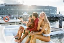 Three Young Friends Enjoying A...