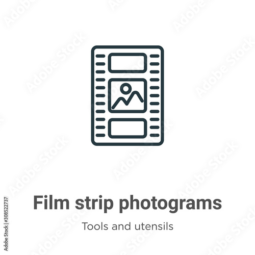 Film strip photograms outline vector icon Canvas Print