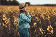 Young Girl With Blue Denim Jac...