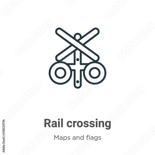 Valokuva Rail crossing outline vector icon