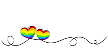 Calligraphy Rainbow Heart Ribb...