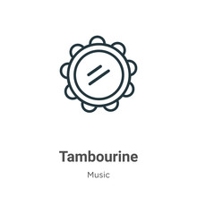Tambourine Outline Vector Icon. Thin Line Black Tambourine Icon, Flat Vector Simple Element Illustration From Editable Music Concept Isolated On White Background